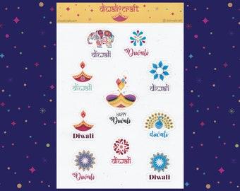 Diwali Stickers - Diya, Peacock, Elephant & Rangoli - 10 sticker on 1 sticker sheet