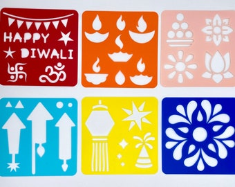 Diwali Themed Stencils for Kids  - 25+ Patterns, 6 Colorful Stencils