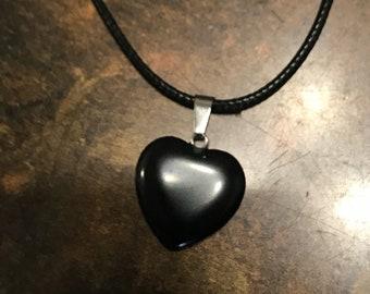 Hematite Heart w/ Lwather Necklace