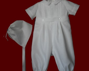 96a2b28e9 Boys Irish Linen Christening Romper with Detachable Gown & Hat | Etsy