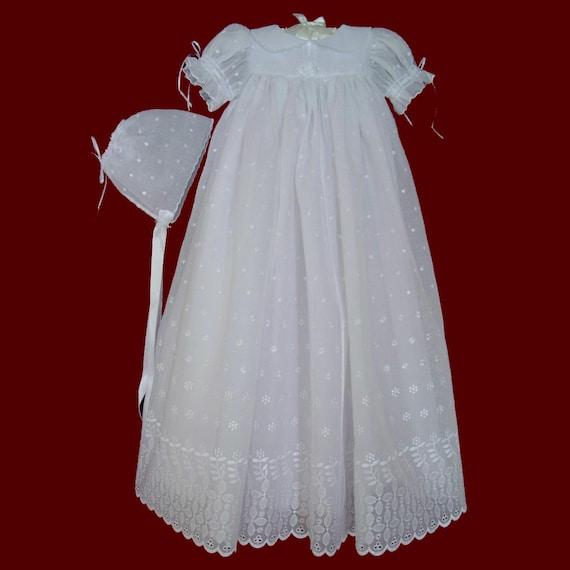 0f8647af6 Girls Embroidered Eyelet Voile Christening Gown Slip   Bonnet