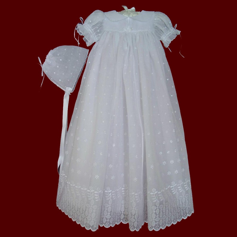 e9f5ee3b5 Clearance Priced Girls Embroidered Eyelet Voile Christening   Etsy