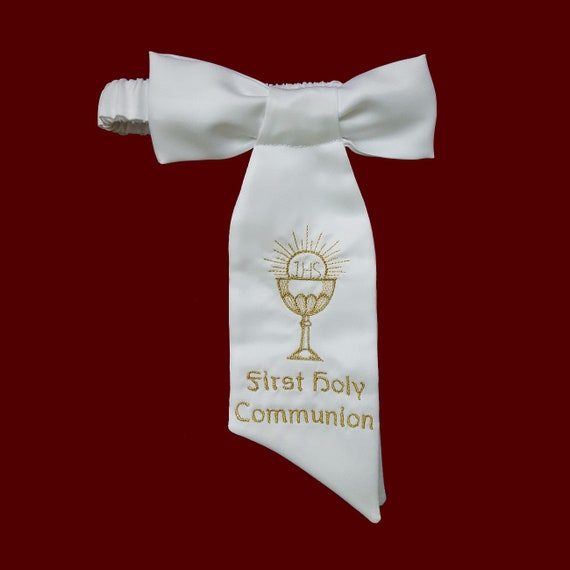 White Communion Tie With a Gold Cross /& Silver Chalice