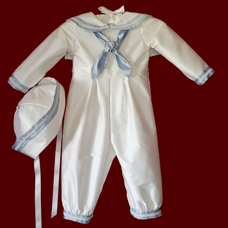 b0fc596e7 Silk Sailor Style Christening Romper With Blue Accents and | Etsy