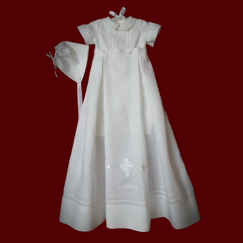 34ea684c2a52 Boys Irish Linen Christening Romper with Detachable Gown   Hat