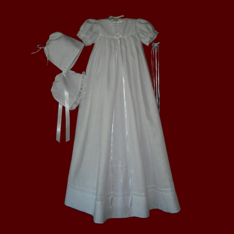 baec96e84046 Unisex Irish Linen Embroidered Celtic Cross Christening Gown