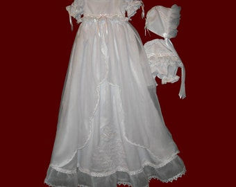 Girls Detachable Embroidered Prayer Gown, Dress & Panties and Bonnet