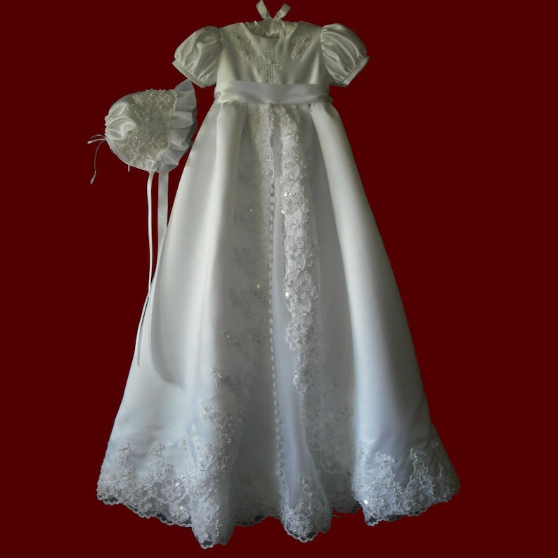 fed91c73e Satin and Organza Christening Gown With Beaded Lace and   Etsy