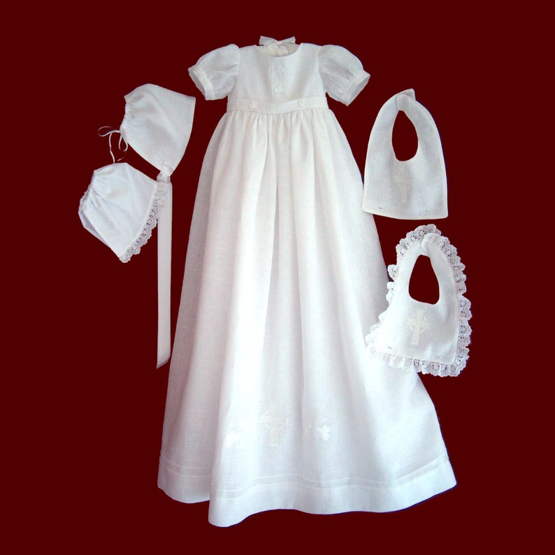924ddc5d20e7 Unisex Christening Gown With Boy and Girl Detachable Bibs