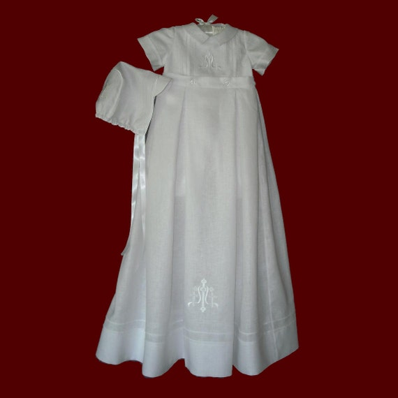 48e37e5360d7 Boys Embroidered Cross Christening Romper with Detachable Gown