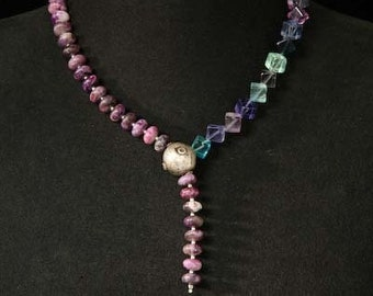 Necklace short fluorite amethyst sterling silver al silver purple green blue boho ethno hippie y chain Artisan unique elegant gemstones