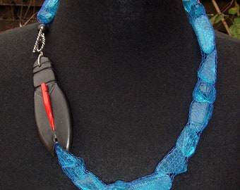 Necklace medium long horn coral glass silver scarab turquoise black red Artisan ethno Africa boho hippie unique egypt contrast