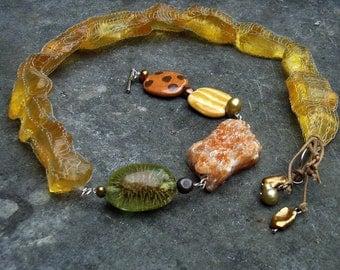 Necklace medium long Stellerit ceramic glass beads sterling silver yellow green orange artisan ethno Africa boho hippie unique artisan fruit