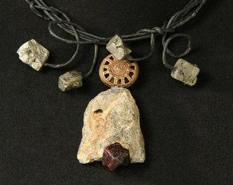 Necklace Short Garnet Pyrite Brass Bead Paper Black Grey Red Artisan Unique Africa Boho Hippie Rustic Stone Age