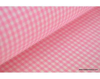 Gingham pink and white .x1m cotton polyester fabric
