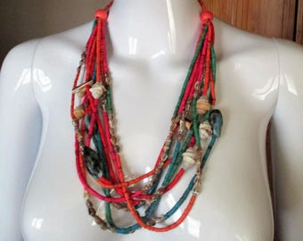 Vintage Beaded Multi Strand Tropical Shell Necklace Summer Beach Accessory