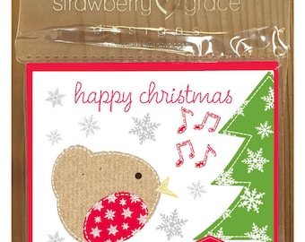 Christmas Card Pack - Robin design, Small (Pack Of 6)