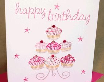 Cupcakes Birthday Card, Jewelled Birthday Card for Woman/Girl