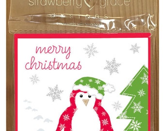 Christmas Card Pack - Penguin design, Small (Pack Of 6)