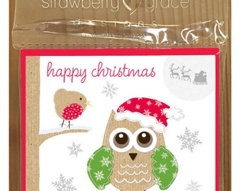 Christmas Card Pack - Owl design, Small (Pack Of 6)