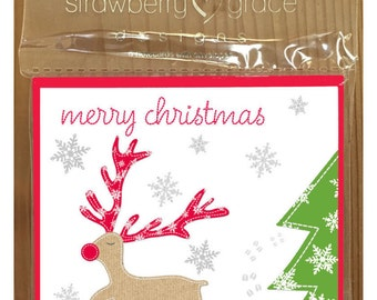 Christmas Card Pack - Rudolph design, Small (Pack Of 6)