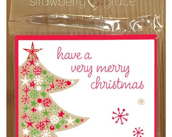 Christmas Card Pack - Tree design, Small (Pack Of 6)