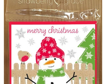 Christmas Card Pack -Snowman design, Small (Pack Of 6)