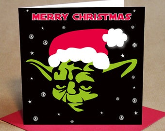 Christmas Card Pack - Yoda style design, Small (Pack Of 6)