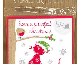 Christmas Card Pack - Cat design, Small (Pack Of 6)