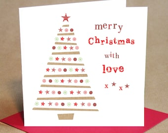 Christmas Card Pack - Christmas Tree design, Small (Pack Of 6)