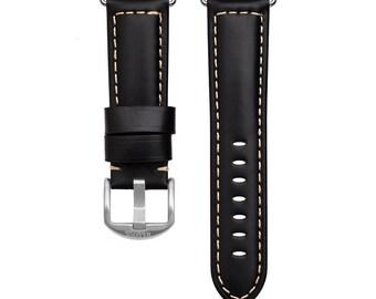 Black Leather Apple Watch Strap