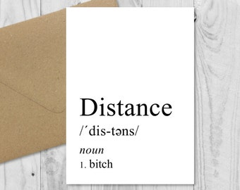 Long Distance Relationship Definition Card Boyfriend Gift Birthday Anniversary Valentines LDR