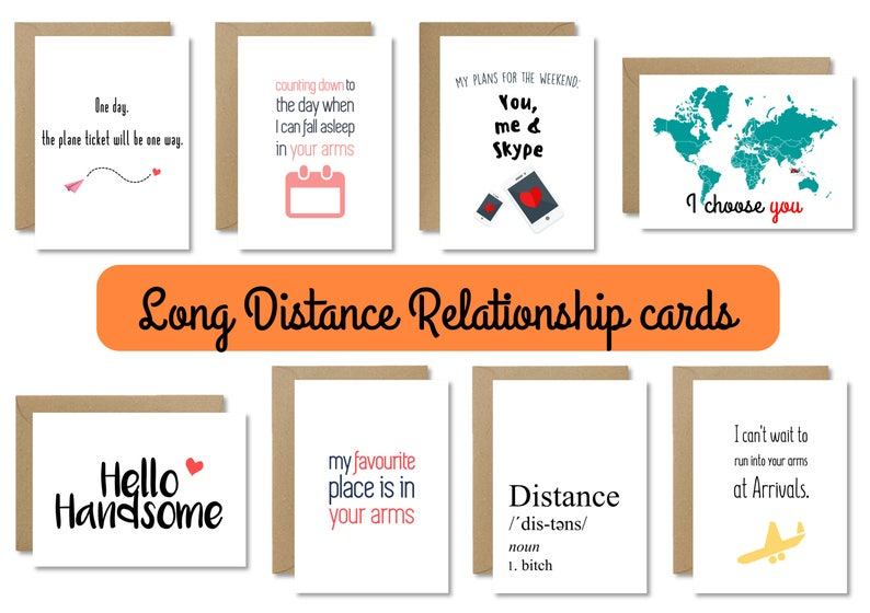 Long Distance Relationship Handmade Card LDR Boyfriend
