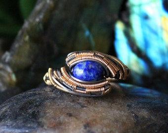 Lapis Lazuli Wire Wrapped Ring // Silver & Gold // Size 8.5