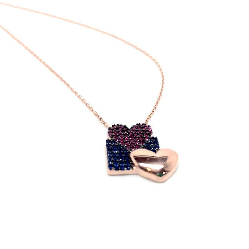 Romantic Rose Gold with two hearts Cubic Zirconia Pendant Necklace Gift Box Included Birthday Gift Women/'s Jewellery 925 sterling silver
