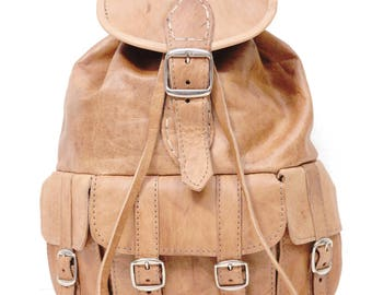 a0f338111 Tan Brown Moroccan Leather Rucksack | 80's Bohemian Style | Small