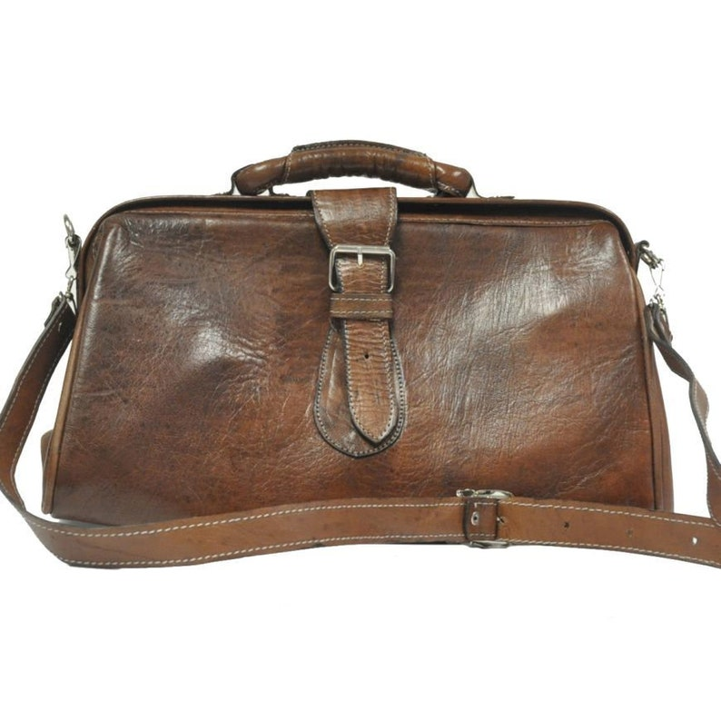 Victorian Purses, Bags, Handbags Leather Doctor Bag In Textured Brown $193.33 AT vintagedancer.com