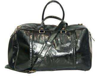 Traveller's Holdall   Duffle Bag   Black Gloss Leather