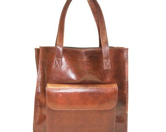 Stressed Brown Leather Shopper Tote Bag