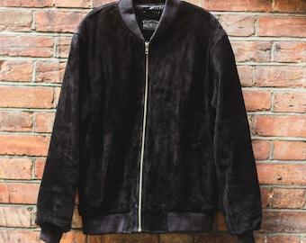 Suede Bomber Jacket In Black
