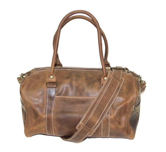 1f0a5f04e6 Duffle Gym Bag Premium Hunter Cow Leather Stressed Brown