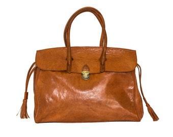 Orange Leather Handbag | Shoulder Bag