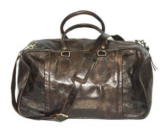 Traveller's Holdall   Duffle Bag   Dark Brown Gloss Leather