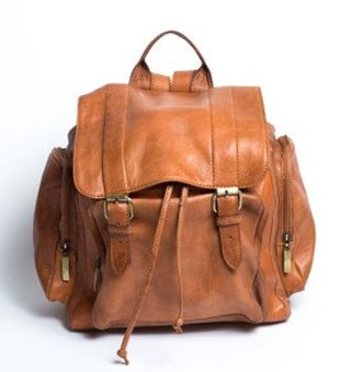 Tan Leather Retro Backpack   80's Style   Unisex Rucksack