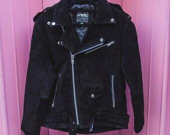 Genuine Black Suede Biker Jacket | 80's Style