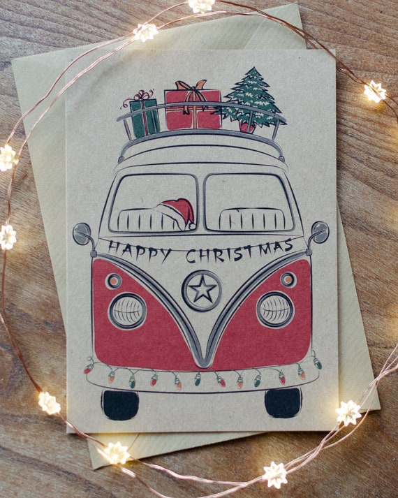 VW T2 Camper bus inspired christmas card
