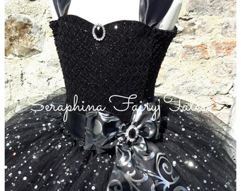 de15b7215a332 Girls Little Black Tutu Dress Costume. Lined Sparkly LBD Birthday Party  Gala Gown With Black Glitter Lace Front. Short Length Version.