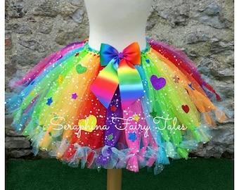 Girls Rainbow Glitter Petti Tutu Skirt With Glitter Hearts and Stars. Birthday, Gala & Cake Smash Outfit. Handmade by Seraphina Fairy Tales