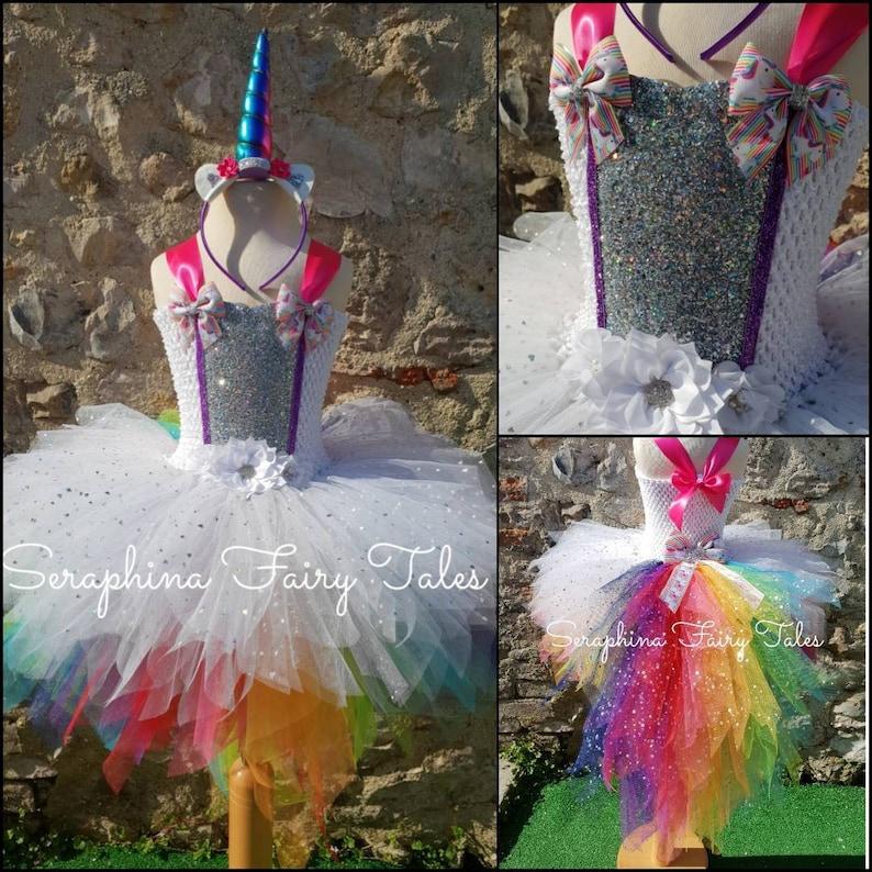 3b843641b Girls White Rainbow Unicorn Tutu Dress Costume. Lined Sparkly   Etsy
