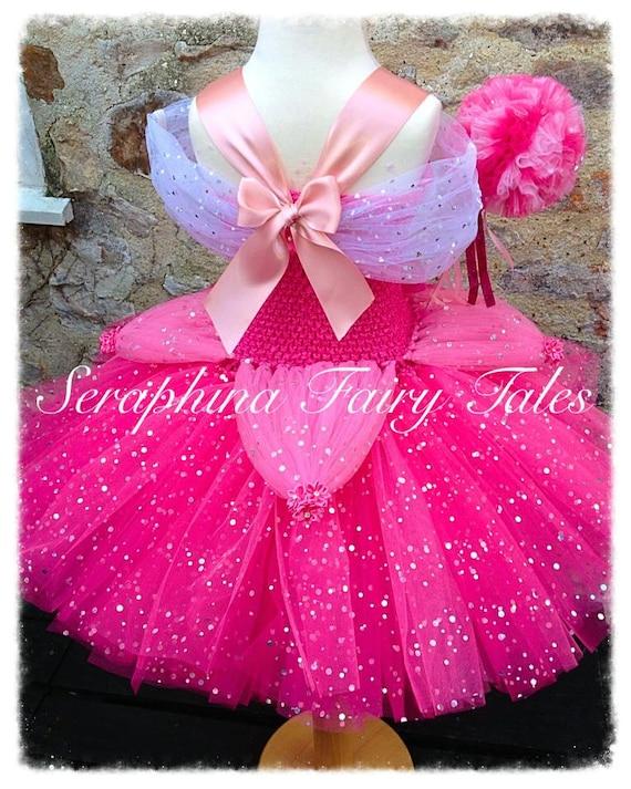Les filles rose Costume Robe de princesse Tutu scintillant. Doublé rose soirée / Gala / robe de bal robe de paillettes. Fait main par les contes de fées de charlene.